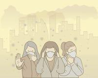 El ejemplo de la gente lleva la máscara para evitar la contaminación atmosférica ejemplos exhaustos del estilo de la mano foto de archivo libre de regalías