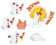 El ejemplo de la historieta de un muñeco de nieve divertido de la Navidad y los fuegos artificiales para usted diseñan Foto de archivo libre de regalías
