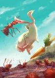 El ejemplo de la historieta del grupo de hormigas ataca un conejo blanco fotos de archivo libres de regalías