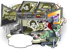 El ejemplo de la historieta del ladrón de coches de A se ha descubierto en una instalación gigante de la vigilancia ilustración del vector