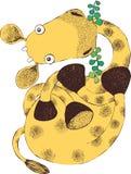 El ejemplo de la jirafa linda come las hojas - vector ilustración del vector