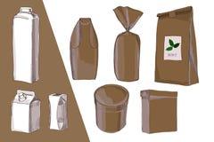 El ejemplo de la mano dibujado, paquete de dibujo, empaqueta todos los tipos para la comida Caja de embalaje de Brown, botella, l Imagen de archivo libre de regalías