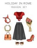 El ejemplo de la moda de la trama fijó - acorte a Art Set de la ropa y de los accesorios de la mujer ilustración del vector