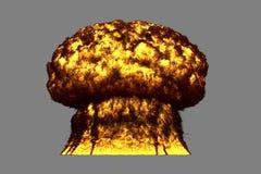 El ejemplo de la ráfaga 3D de la explosión altamente detallada grande del hongo atómico con miradas del fuego y del humo le gusta ilustración del vector