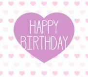 El ejemplo de la tarjeta de felicitación del feliz cumpleaños con el corazón forma stock de ilustración