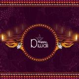 El ejemplo de la tenencia de la señora adornó el diya para el fondo feliz del día de fiesta de Diwali libre illustration