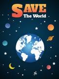 El ejemplo de la tierra y de la luna gira en órbita stock de ilustración