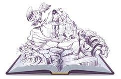 El ejemplo de libro abierto de la leyenda del águila de PROMETHEUS picotea el hígado stock de ilustración