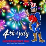 El ejemplo de los hombres que celebran Día de la Independencia Vector el cartel 4to de las letras de julio Rojo americano en fond Fotografía de archivo libre de regalías