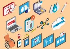 El ejemplo de los iconos gráficos del hospital de la información fijó concepto Imagen de archivo libre de regalías