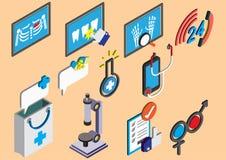 El ejemplo de los iconos gráficos del hospital de la información fijó concepto Foto de archivo libre de regalías