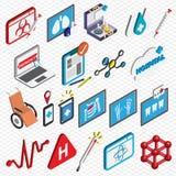 El ejemplo de los iconos gráficos del hospital de la información fijó concepto Fotos de archivo