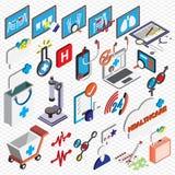 El ejemplo de los iconos gráficos del hospital de la información fijó concepto Imagenes de archivo