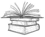 El ejemplo de los libros en fila, dibujo, grabado, tinta, línea arte, vectorStack del ejemplo de libros, dibujo, grabado, tinta,  Imagenes de archivo