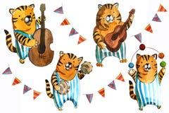 El ejemplo de los niños de Watrcolor del tigre lindo del circo aislado en el fondo blanco stock de ilustración