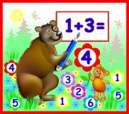El ejemplo de los osos que aprenden cuenta numera, imagen del vector para el libro escolar stock de ilustración