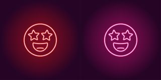 El ejemplo de neón de la estrella pegó el icono del vector del emoji ilustración del vector