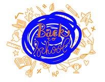 El ejemplo de nuevo a la escuela lerreting con la mano dibujada garabatea Imagen de archivo libre de regalías