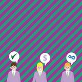 El ejemplo de tres hombres de negocios con cada uno tiene burbuja del discurso con los iconos del coste de la optimización Idea c libre illustration