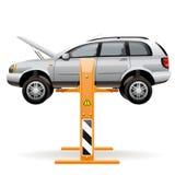 Repare el coche en una elevación stock de ilustración