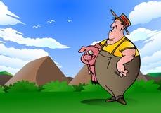 El hombre lleva el cerdo rosado Fotos de archivo libres de regalías