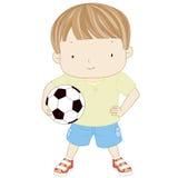 El ejemplo de un muchacho lindo está celebrando un fútbol o aislado bola Fotos de archivo libres de regalías