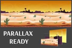 El ejemplo de un paisaje de la tarde del desierto, con las hierbas, las montañas y cielo, vector el fondo interminable con capas