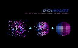 El ejemplo del análisis de Big Data del vector que brillaba intensamente, elementos de la tecnología aisló libre illustration