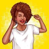 el ejemplo del arte pop de una mujer negra toca su pelo Fotografía de archivo