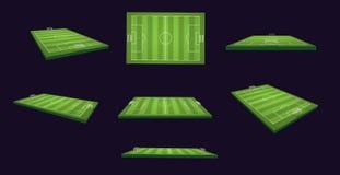 El ejemplo del campo de fútbol 3d fijó en distintas vistas y ángulos Imagenes de archivo