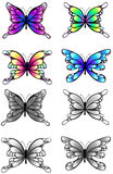 El ejemplo del detalle de las mariposas de la silueta fijó, crea altamente Fotografía de archivo libre de regalías