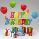 El ejemplo del feliz cumpleaños 3D, rinde de las letras 3D, de los globos, de los regalos y de la torta Imagenes de archivo