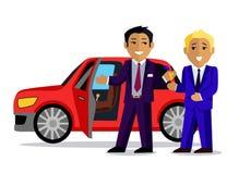 El ejemplo del hombre compra un nuevo coche Imagen de archivo libre de regalías