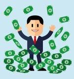 El ejemplo del hombre de negocios de la historieta en la pila de dinero aprovecha concepto del bote pila acertada de las cuentas  Imagen de archivo libre de regalías