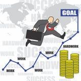 El ejemplo del hombre de negocios va al éxito debido al hardwork foto de archivo