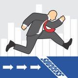 El ejemplo del hombre de negocios va al éxito debido al hardwork imagenes de archivo