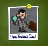 El ejemplo del niño pequeño en vidrios grandes se vistió como un profesor Teacher& feliz x27; título del día de s Imágenes de archivo libres de regalías