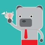 El ejemplo del símbolo del toro y del oso del mercado de acción tiende Imágenes de archivo libres de regalías