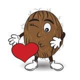 El ejemplo del vector del coco está enviando un beso con el corazón rojo ilustración del vector
