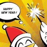 El ejemplo del vector de la Feliz Año Nuevo con el gallo, la bengala y el texto se nublan tebeos Imágenes de archivo libres de regalías