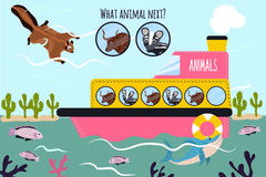 El ejemplo del vector de la historieta de la educación continuará la serie lógica de animales coloridos en un barco en el océano  Fotografía de archivo