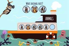 El ejemplo del vector de la historieta de la educación continuará la serie lógica de animales coloridos en un barco en el océano  Foto de archivo libre de regalías