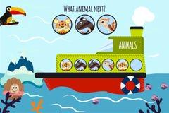El ejemplo del vector de la historieta de la educación continuará la serie lógica de animales coloridos en un barco en el océano  Imagen de archivo libre de regalías