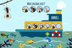 El ejemplo del vector de la historieta de la educación continuará la serie lógica de animales coloridos en una nave en el océano  Fotos de archivo libres de regalías