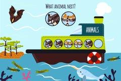 El ejemplo del vector de la historieta de la educación continuará la serie lógica de animales coloridos en un barco en el océano  Fotos de archivo