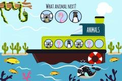El ejemplo del vector de la historieta de la educación continuará la serie lógica de animales coloridos en un barco en el océano  Fotos de archivo libres de regalías