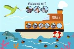 El ejemplo del vector de la historieta de la educación continuará la serie lógica de animales coloridos en una nave en el océano  Foto de archivo libre de regalías