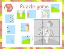 El ejemplo del vector de la historieta del juego del rompecabezas de la educación para los niños preescolares con oye fotos de archivo libres de regalías