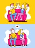 El ejemplo del vector de la mujer y el hombre que se sienta en el sofá adentro differen ilustración del vector