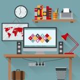 El ejemplo del vector de la oficina tiene un ordenador Libre Illustration